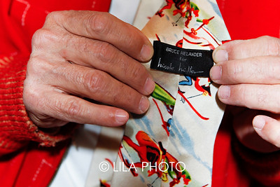 Bruce Helander wearing his tie Nicole Miller comissioned him to design.