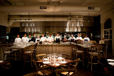 celebrity chefs with sous chefs, prior to the dinner; Michael Pisarri / LILA PHOTO