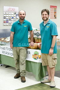 Kai Kai Farms Nathan Venzara, left, and Seth Fraiman with their stand at the Summer Gardens GreenMarket at STORE Sunday.