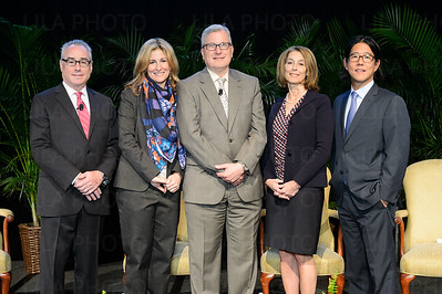 Dr. Matthew Fink, Jessica Bibliowicz (Chairman of the Board at Weill Cornell Medicine), Dr. John Leonard, Dr. Laurie Glimcher (Dean of Weill Cornell Medicine), Dr. James Min © 2016 LILA PHOTO