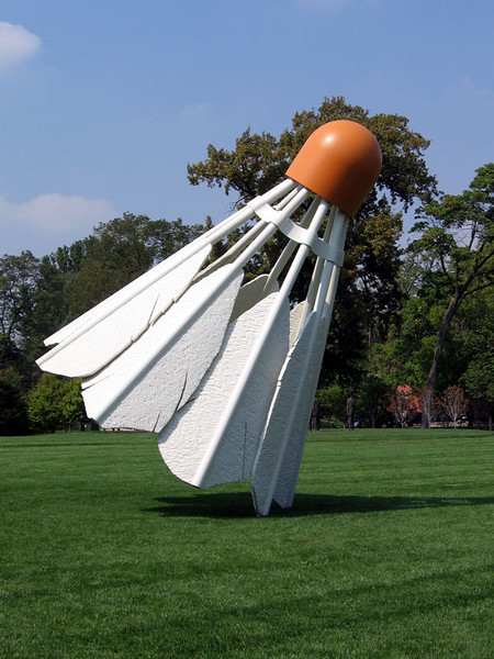 Shuttlecock on the lawn.