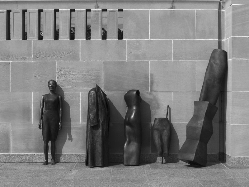 I liked the way these are presented leaning against a wall on the front lawn of the museum.<br /> Storage, 1999 by Judith Shea.
