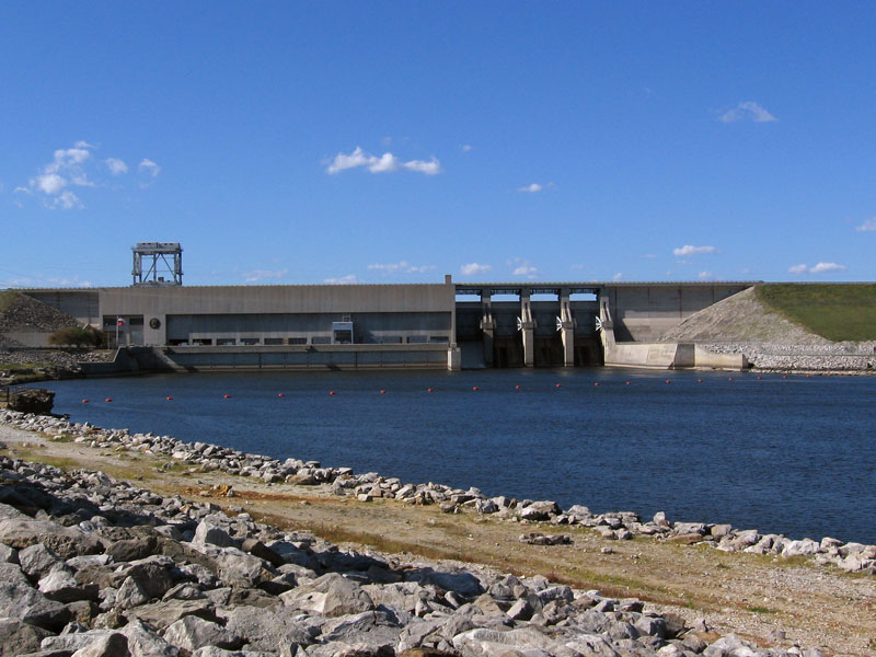 The spillway side of the the dam at Truman Lake.