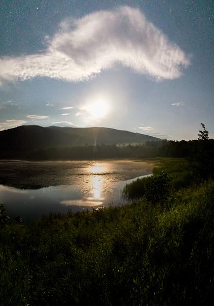Misty Moonlit Pond
