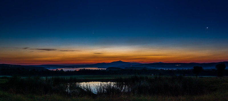 Comet Neowise and Venus over Lake Carmi at Sunrise