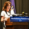 KAYLA BREEN/ STAFF PHOTO<br /> New York Lt. Gov. Kathy Hochul talks about the winning projects for Plattsburgh's $10 million downtown revitalization initiative during a news conference Thursday at City Hall in Plattsburgh. She said locals will be good stewards of the money.