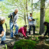 JACK LADUKE/ P-R PHOTO<br /> Alice Boutte (left) Tom Dubois, Marcy Neville, Miles Wagner and Noah Haverlick work at Point Park planting flowers, conditioning paths and pruning trees as part of Clean Keene Day on Saturday. The event, for which volunteers help with park maintenance, spring cleaning for local senior citizens, other town projects and litter pick up, is in its 15th year.