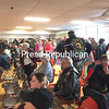 LOIS CLERMONT/ STAFF PHOTO<br /> The City Recreation Center community room was packed as people turned out to see 16 World War II and Korean War veterans off on the first North Country Honor Flight of 2017. See video of the event at pressrepublican. com.