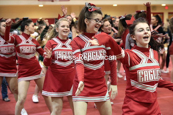 GABE DICKENS/ P-R PHOTO<br /> The Beekmantown Eagles cheerleaders join the other school teams in dance while waiting for the final results to be announced.