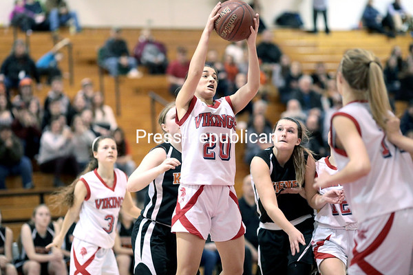 GABE DICKENS/ P-R PHOTO<br /> Moriah's Makayla Stockwell comes down with a defensive rebound during the Section VII Class D championship game against Keene Friday at the Field House in Plattsburgh.