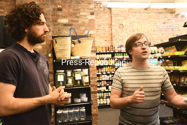 KAYLA BREEN/ STAFF PHOTO<br /> General Manager Ryan Demers (left) and Project Manager Jeremiah Ward talk about the recent renovations to the North Country Food Co-op in downtown Plattsburgh. The expansion allows the store to offer 30 to 40 percent more product than before.