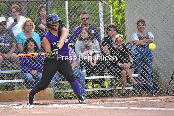 KAYLA BREEN/ STAFF PHOTO<br /> Ticonderoga's Kaylee Coon swings at the ball during Wednesday's Section VII Class C softball championship at Cardinal Park in Plattsburgh.