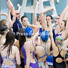 GABE DICKENS/ P-R PHOTO<br /> Members of the Lake Champlain Waves swim team gather around their coach, Randy Kelley, for a pep talk following a practice Thursday evening at Memorial Hall in Plattsburgh.