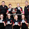 GABE DICKENS/ P-R PHOTO<br /> The Beekmantown girls bowling team poses with the Section VII championship trophy Saturday at North Bowl Lanes in Plattsburgh.