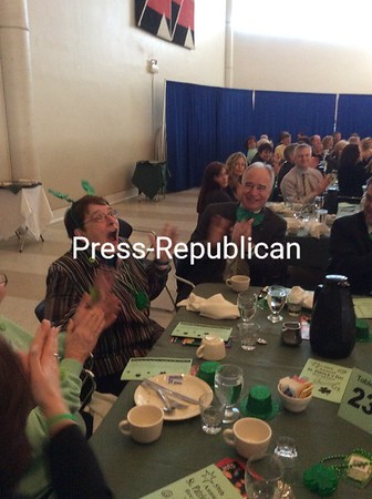 SUZANNE MOORE/ STAFF PHOTO<br /> Sister Debbie Blow reacts with shock to being named North Country Chamber of Commerce Irishwoman of the Year. The executive director of North Country Mission of Hope succeeds Bob Parks as awardee.