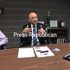 SUZANNE MOORE/ STAFF PHOTO<br /> Clinton Community College President Ray DiPasquale intends to build enrollment, bring new offerings to campus. Here, he speaks with the Press-Republican Editorial Board.