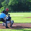 KAYLA BREEN/STAFF PHOTO<br /> Peru Dodgers' Nick Demarais delivers a pitch to Fourth Ward Cardinals batter Tom Neil during Wednesday night's Champlain Valley Baseball League game in Peru.