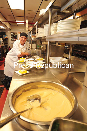 JACK LADUKE/ P-R PHOTO<br /> Stephanie Wood, chef tournant at Mirror Lake Inn, stands in the renovated kitchen of the Lake Placid resort. Half a million dollars was invested to upgrade the kitchen, which serves The View and Taste Bistro restaurants.