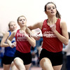 GABE DICKENS/ P-R PHOTOS<br /> Saranac's Faith Haley (left) and Jessica Dormann placed first and third in the 600-meter run during the Section VII indoor track and field championships Saturday at the Field House.