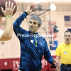GABE DICKENS/ P-R PHOTO<br /> Special Olympian John Piestrzynski of Lake Placid attempts to block a shot by Ian Bell, also an athlete in the Special Olympics, during the Celebration of Abilities event at Memorial Hall on the SUNY Plattsburgh campus recently. Piestrzynski and 20 other athletes from New York will be representing the United States at the Special Olympics World Winter Games in Austria.
