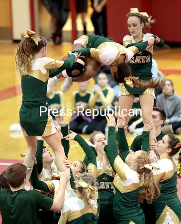 GABE DICKENS/ P-R PHOTO<br /> The Northern Adirondack Central School Bobcats perform a stunt during their routine. The team won first place in the co-ed division.