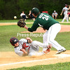 KAYLA BREEN/STAFF PHOTO<br /> Beekmantown's Ryan Criss slides into third base just before Franklin Academy's Nate Welch catches a throw during Wednesday's non-conference baseball game in Beekmantown.