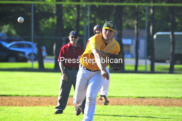 KAYLA BREEN/ STAFF PHOTO<br /> Northern Adirondack's Noah Lambert delivers a pitch during Wednesday's Champlain Valley Athletic Conference Senior Game at Lefty Wilson Field in Plattsburgh.