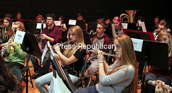 """ALVIN REINER/ P-R PHOTO<br /> The 2017 All County concert band practices """"Cajun Folk Songs"""" ahead of the recent High School All-County Festival Concert at Elizabethtown-Lewis Central School, which also featured a jazz band and mixed chorus, with participation from 11 Essex County schools. The event is put on by the Essex County School Music Association."""