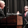 GABE DICKENS/P-R PHOTO 1-6-2017<br /> City Court Judge Mark Rogers swears in Democrat Colin Read as the new mayor of the City of Plattsburgh Thursday evening in the City Hall Auditorium.