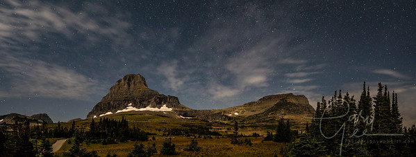 Logan Pass - Glacier National Park - Night Skies w/Moonlight illuminating the mountainside - Panoramic