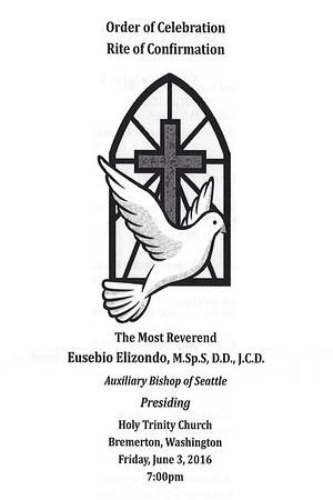 June 3, 2016 - Confirmation at Holy Trinity Parish by Bishop Eusebio Elizondo