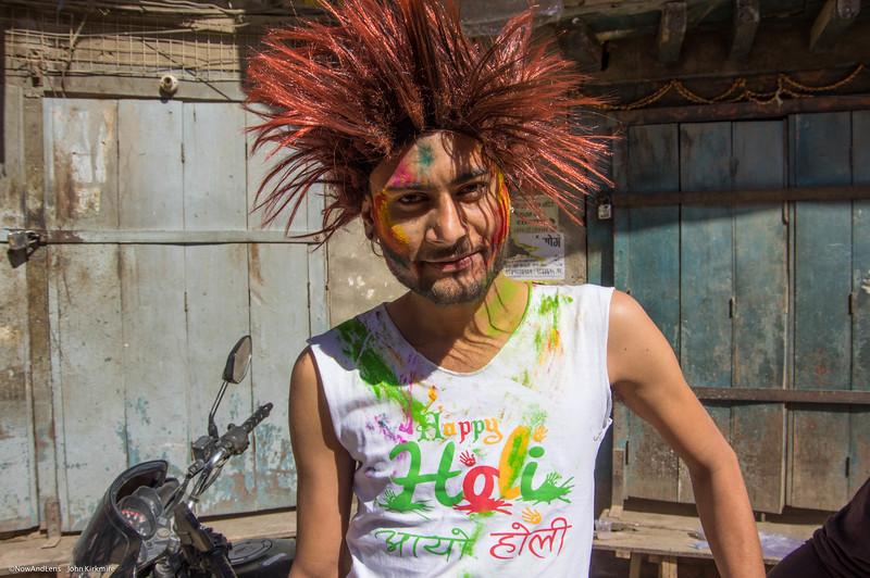 Holi Festival, Kathmandu, hair