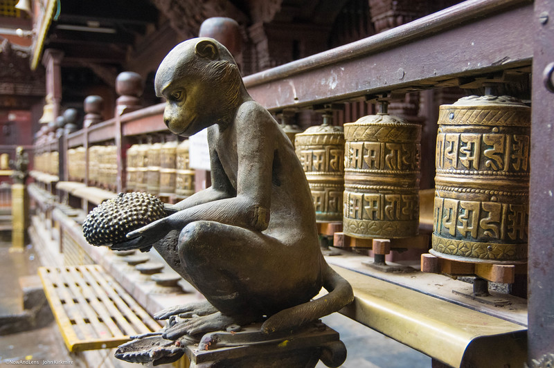 Monkey Sculpture, Prayer wheels, Patan Nepal.