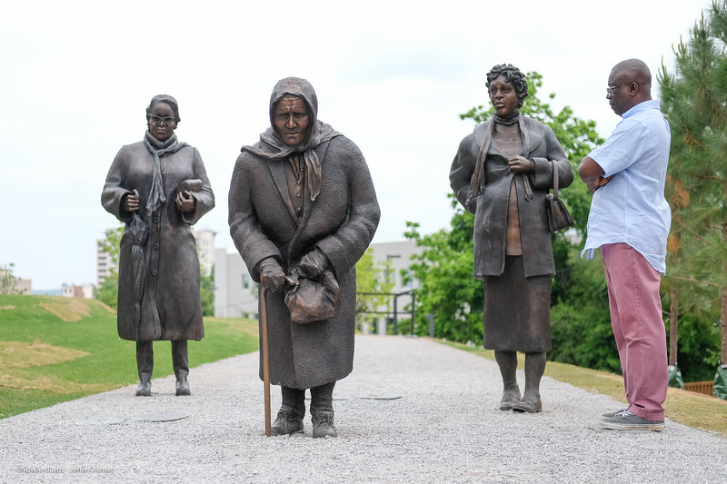 Guided By Justice, sculpture  dedicated to the women who sustained the Montgomery Bus Boycott. National Memorial for Peace and Justice