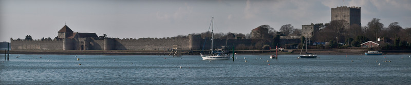 Portchester Castle panorama. Copyright Peter Drury 2010<br /> Taken from Port Solent across Portsmouth Harbour