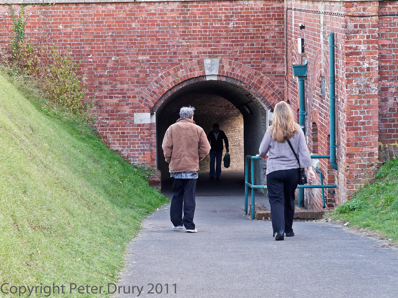 06 Nov 2011 Entrance to the fort from the gun positions/parade ground, Fort Purbrook, Portsdown Hill.