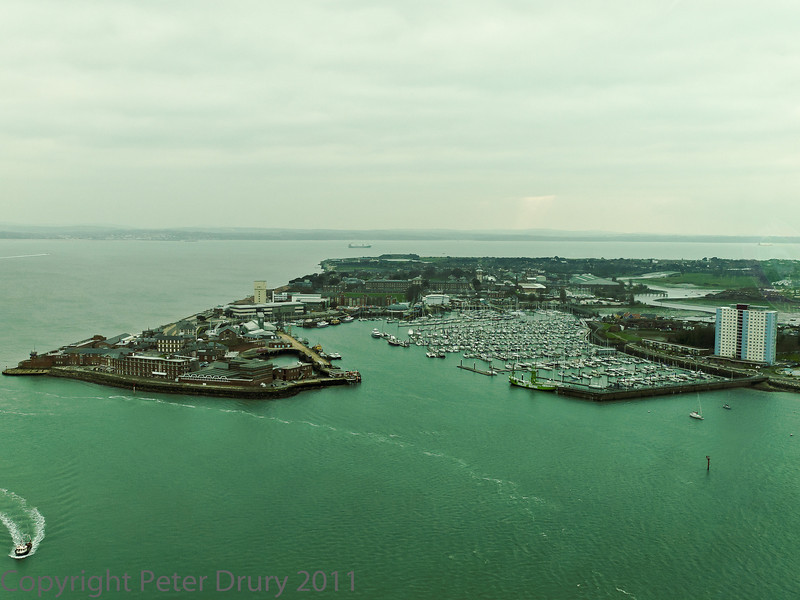 01 Mar 2011 Views from the Spinnaker Tower. A view of Gosport and the marina at the harbour entrance.