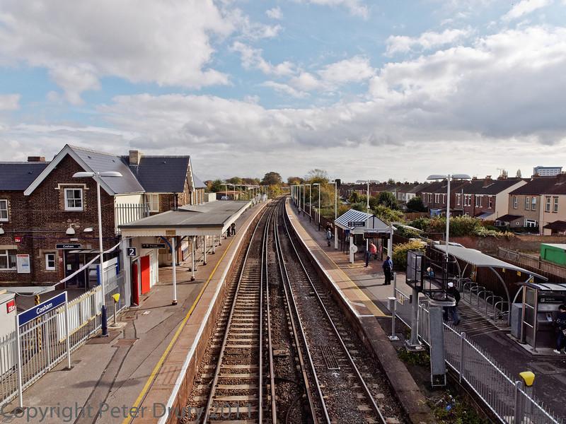 29 Oct 2011 Cosham Station, views from the footbridge.<br /> looking towards Farlington triangle.