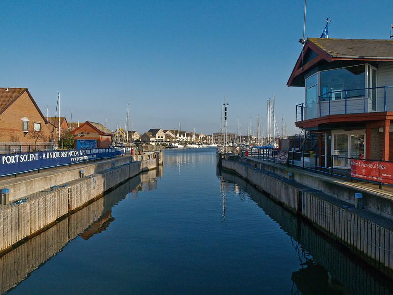 Port Solent marina looking east through open lock gates. Copyright Peter Drury 2010