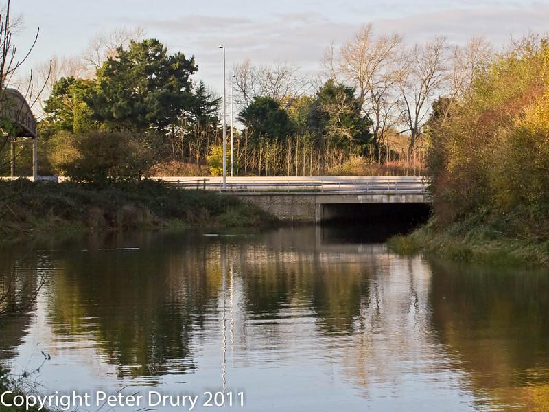 10 November 2010. Hermitage Stream at A27 bridge.  Copyright Peter Drury 2011