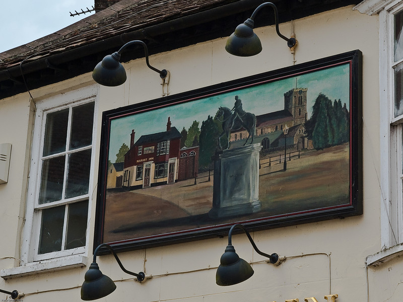 The painted pub sign over the Market Inn. Copyright Peter Drury 2010