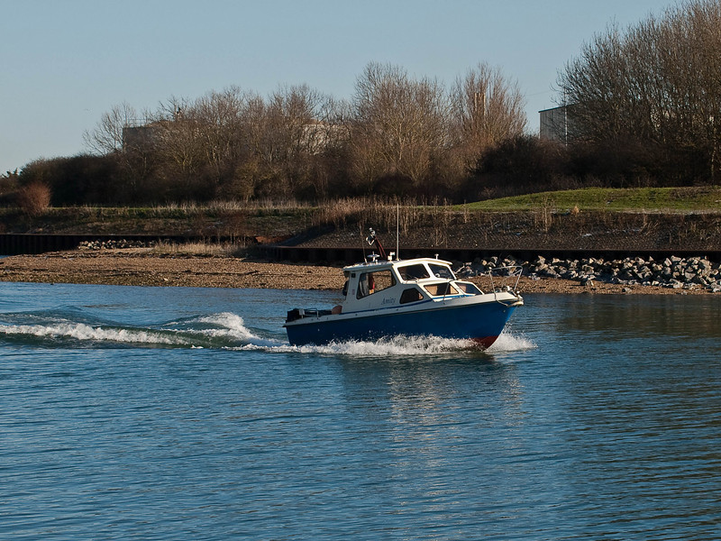 Motor Launch. Copyright Peter Drury 2009<br /> Emerging from the Hermitage Stream into Langstone Harbour