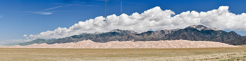 Great Sand Dunes Panorama,<br /> Great Sand Dunes National Park, Colorado<br /> Small Speck = Homo Sapiens
