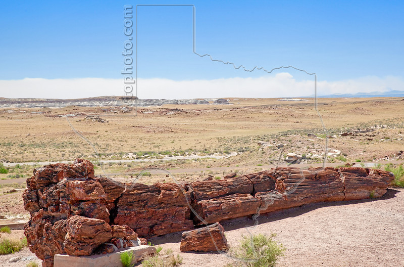 """Petrified Wood,  Smoke from 2011 """"Wallow Fire"""" in Background,<br /> Petrified Forest National Park"""