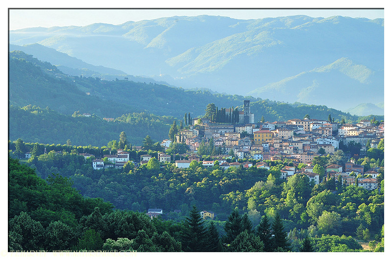 Barga, Italy photographed from a nearby resort---Il Ciocco.  The town, takes one on a time machine, back a few hundred years.