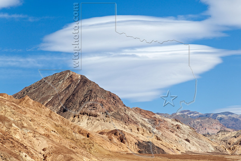 Eroded Mountains, Lenticular Clouds,<br /> Death Valley National Park