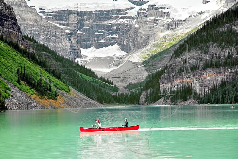 Canoers on Lake Louise,<br /> Banff National Park, Alberta, Canada
