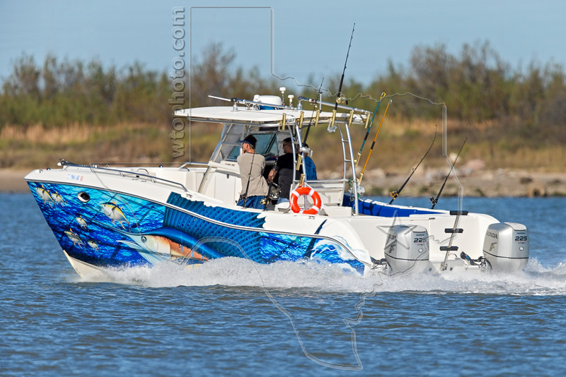 Catamaran Offshore Fishing Boat, <br /> Freeport Jetty Channel, Texas