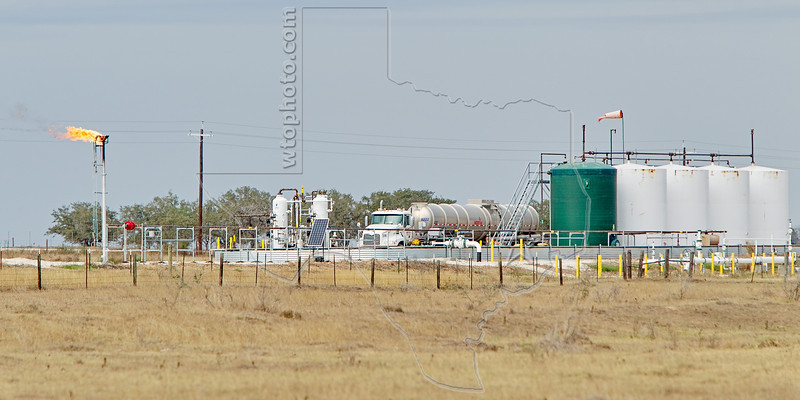 Tanker Truck Loading Eagle Ford Shale Production,<br /> near Nordheim, TX