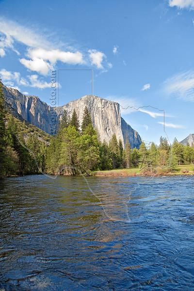 Ribbon Fall, El Capitan, and Merced River, <br /> Yosemite National Park, 2011
